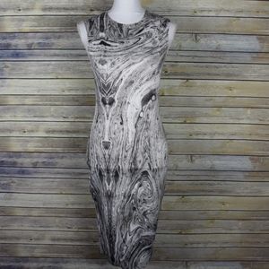NWT Zara Marble Print Bodycon Dress Size Medium